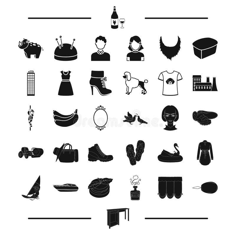 Перемещение, atelier, возникновение и другой значок сети в черном стиле отдых, земледелие, значки обуви в собрании комплекта бесплатная иллюстрация