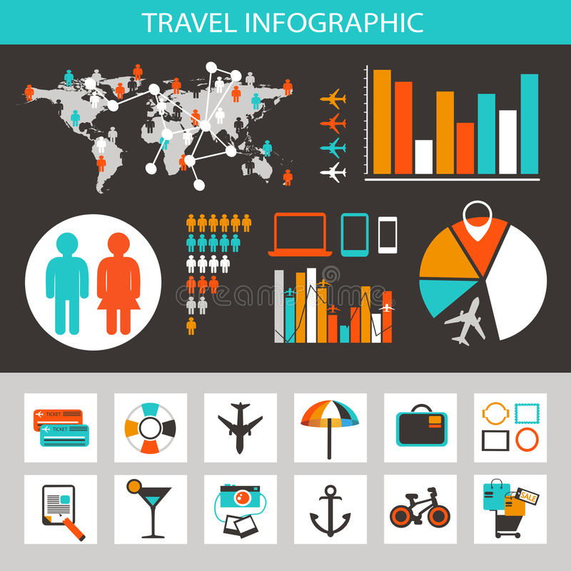 Перемещение infographic с значками и элементами иллюстрация вектора