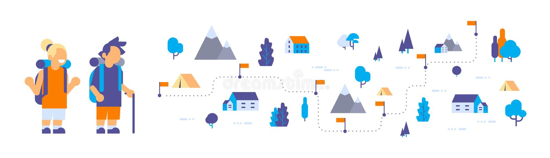 Перемещения леса рюкзака лагеря остатков разведчиков детей девушки мальчика карта пешего равновеликая изолировала квартиру концеп иллюстрация штока