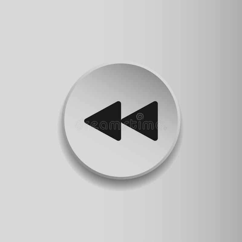Перемотайте символ, быстро назад знак Плоский значок стиля на серой предпосылке Символ мультимедиа r бесплатная иллюстрация