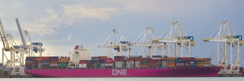ПЕРЕПАД, КАНАДА - 14-ое марта 2019: большой грузовой корабль получая нагружен с грузом на порте перепада стоковое фото rf