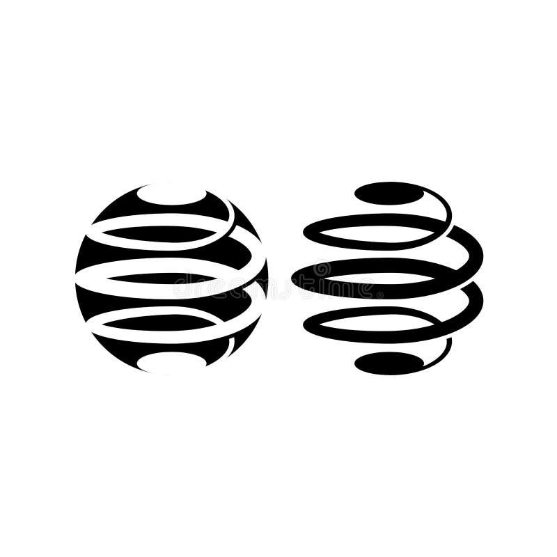 Переплетайтесь в спиральной структуре логотипа черно-белая сферически форма, абстрактный логотип круга для компании технологии, т иллюстрация вектора