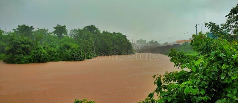 Переполнение реки bhatasa в сезоне дождей стоковые фотографии rf
