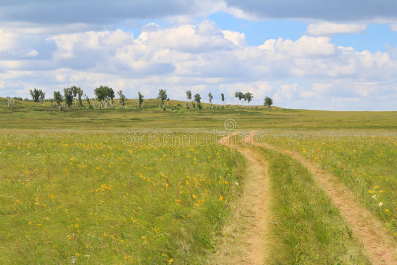 Переплетая сельская дорога идя внутри нигде стоковая фотография