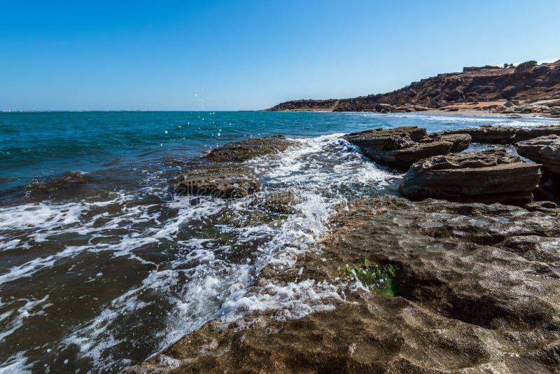 Перерывы океанских волн на утесе стоковое фото rf