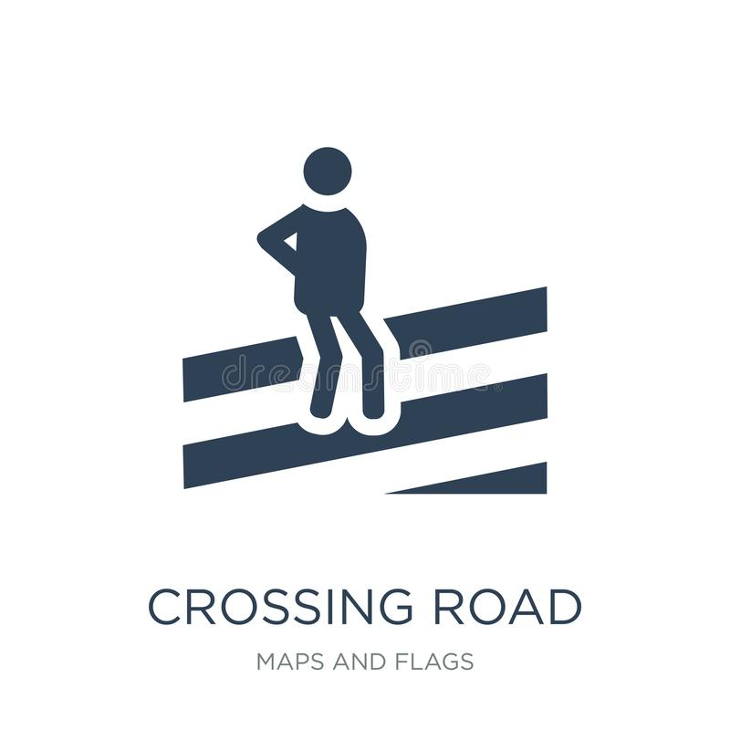 пересекая значок предосторежения дороги в ультрамодном стиле дизайна пересекая значок предосторежения дороги изолированный на бел бесплатная иллюстрация