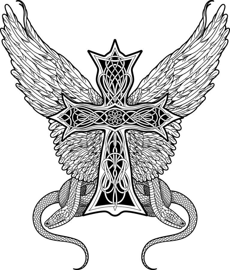 Пересеките в кельтский стиль с большими крылами и 2 змейками бесплатная иллюстрация
