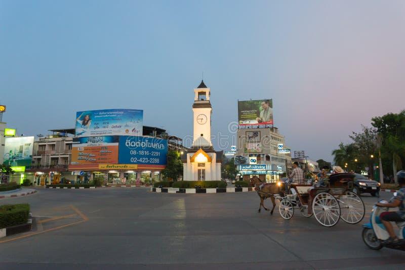 Пересечение башни с часами на Lampang стоковое изображение