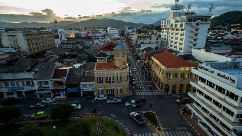 Пересечение вида с воздуха в городке Пхукета стоковое изображение