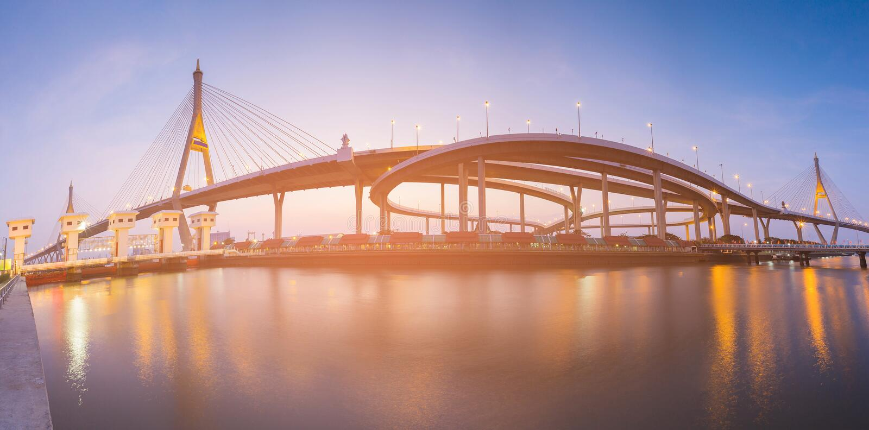 Пересечение шоссе панорамы соединяется с фронтом реки висячего моста стоковая фотография rf