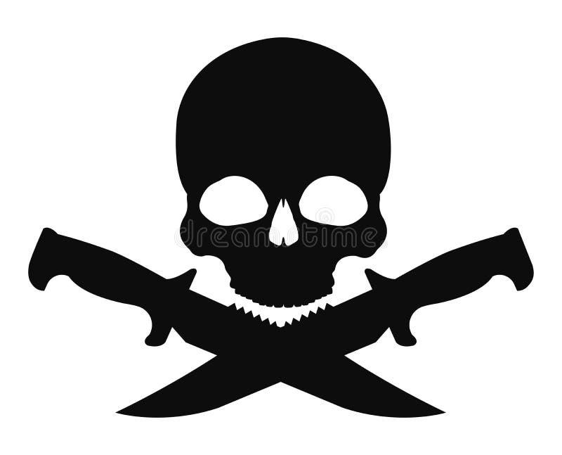 2 пересеченная ножей черная эмблема черепа и иллюстрация штока