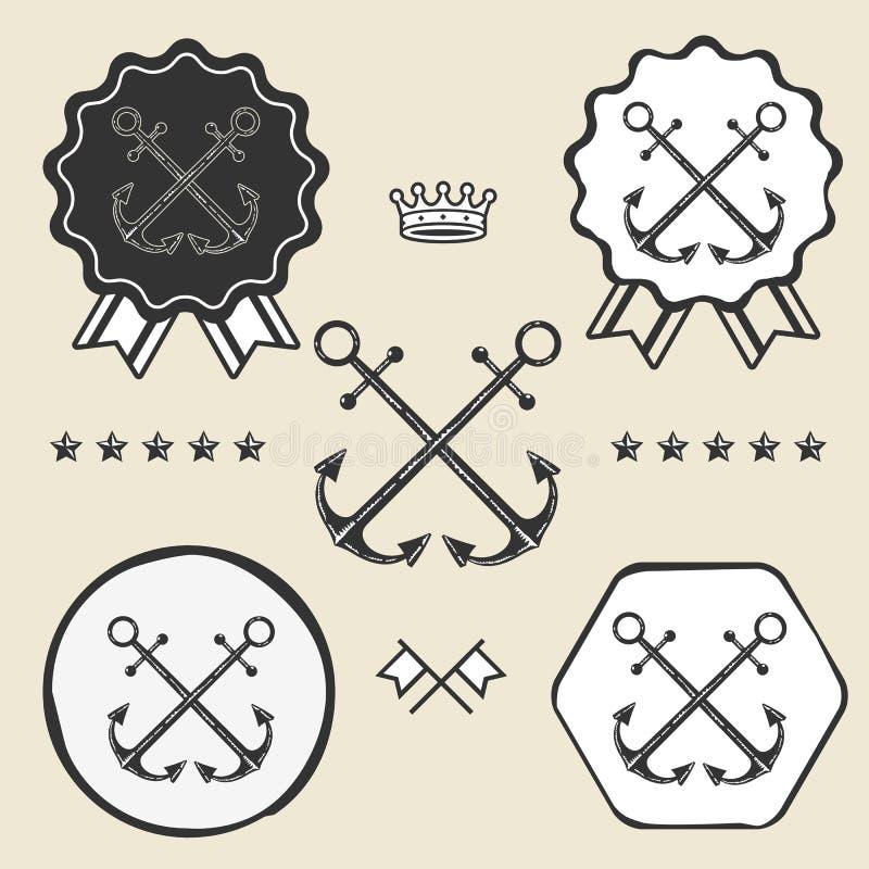 Пересеченное анкером винтажное собрание ярлыка эмблемы символа иллюстрация штока