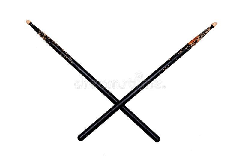 Пересеченное 2 использовали черные drumsticks стоковые фото