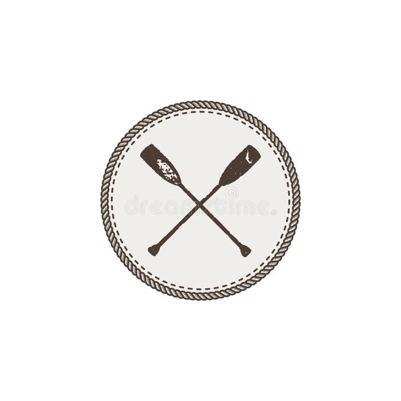 Пересеченные заплата и стикер значка затворов Винтажной нарисованный рукой внешний дизайн приключения Символ каное и каяка Кемпин иллюстрация вектора