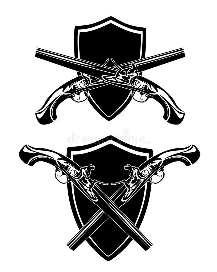 Пересеченные пистолеты и защищать черный набор дизайна вектора иллюстрация вектора