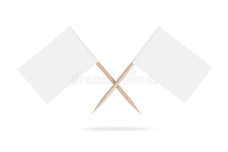 Пересеченные пустые флаги парламентера изолировано иллюстрация штока