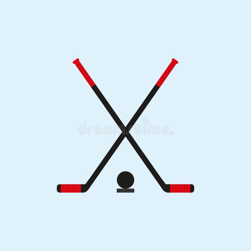 Пересеченные хоккейные клюшки и шайбы также вектор иллюстрации притяжки corel иллюстрация штока