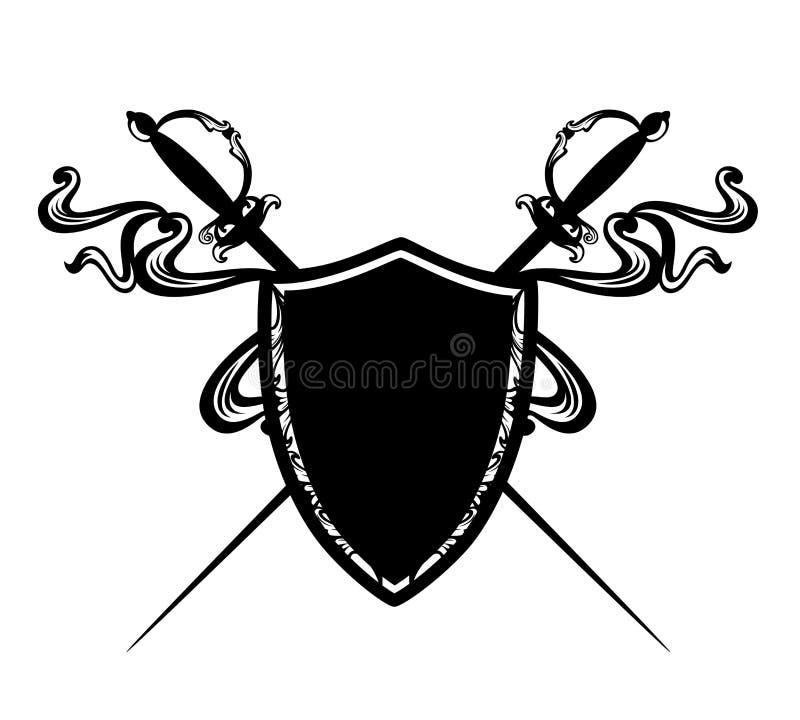 Пересеченные шпаги epee и черный экран вектора иллюстрация вектора