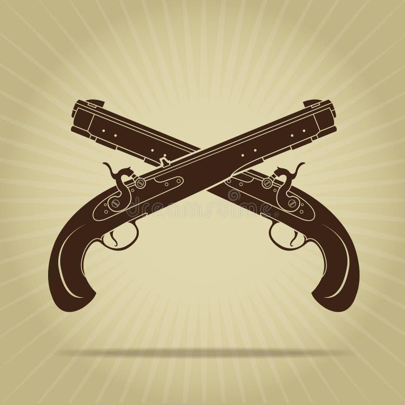 Пересеченный год сбора винограда силуэт пистолетов выстукивания иллюстрация штока