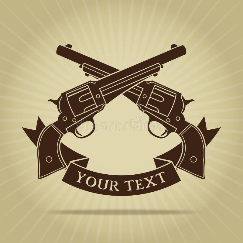 Пересеченный год сбора винограда силуэт пистолетов иллюстрация вектора