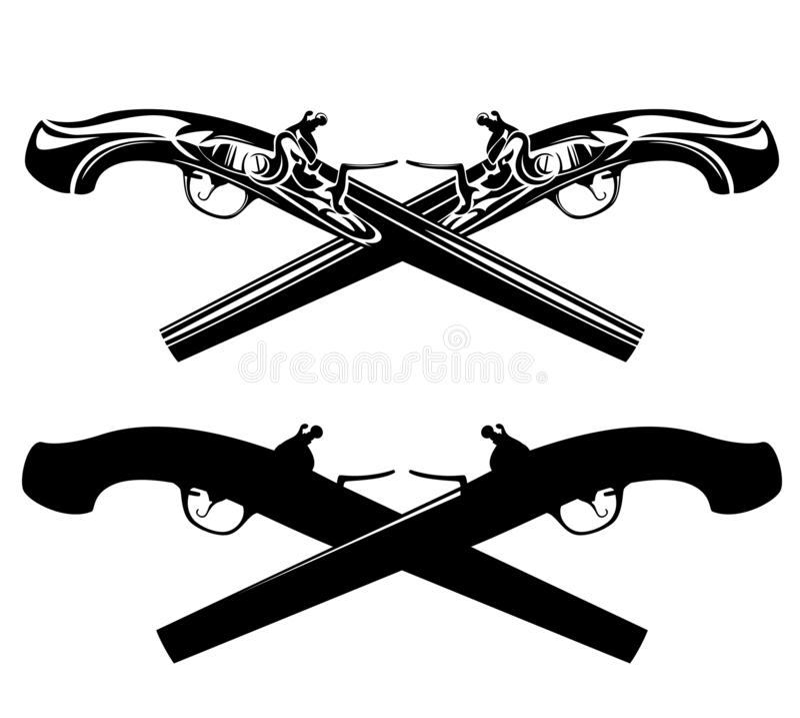 Пересеченный дизайн вектора пистолетов поединка черно-белый бесплатная иллюстрация