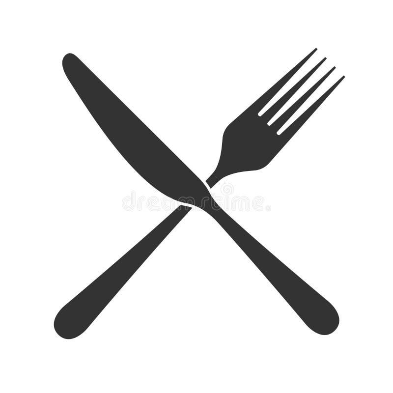 Пересеченный значок ножа и вилки иллюстрация вектора