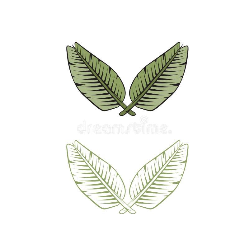 2 пересеченных листь дизайна вектора пальмы бесплатная иллюстрация