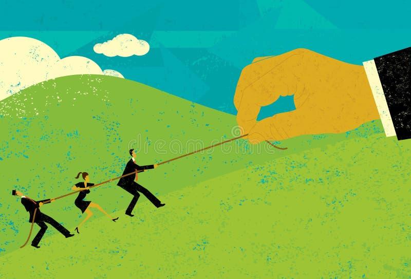 Перетягивание каната с крупным бизнесом иллюстрация вектора