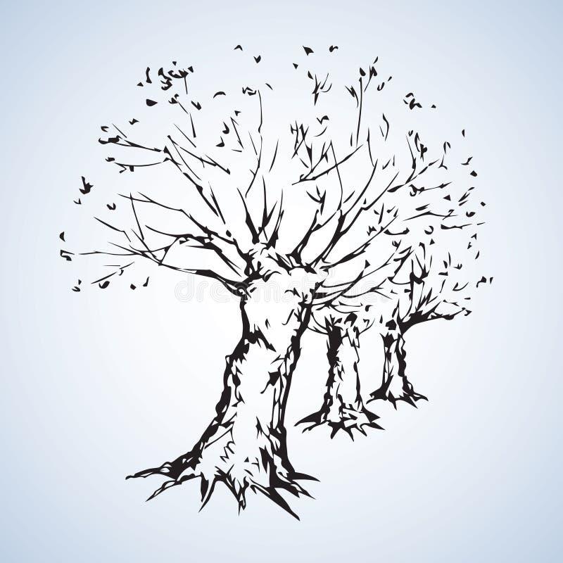 Переулок безлистных деревьев предпосылка рисуя флористический вектор травы иллюстрация вектора