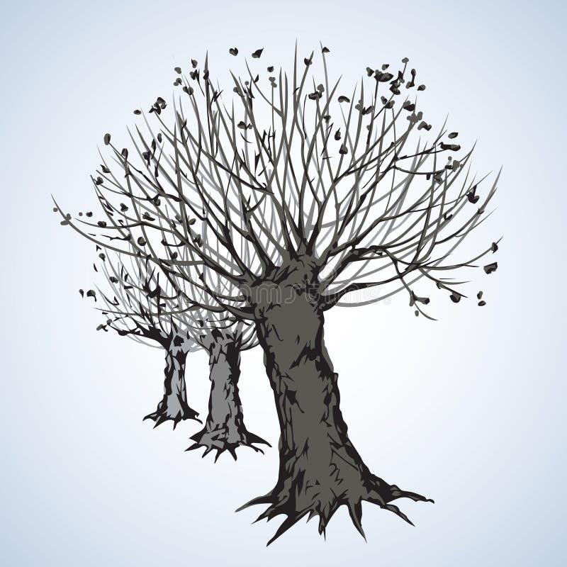 Переулок безлистных деревьев r иллюстрация штока