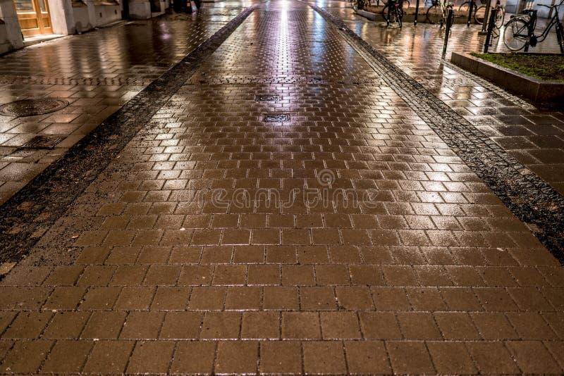 Переулок города пешеходный с влажной каменной мостоваой стоковые фотографии rf