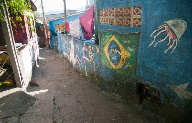 Переулок покрытый граффити в Бразилии с флагом стоковое фото rf