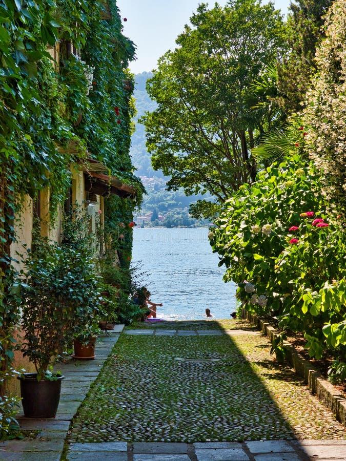Переулок с домами стен покрытых лозами с orta озера на заднем плане и людьми купая стоковое изображение rf