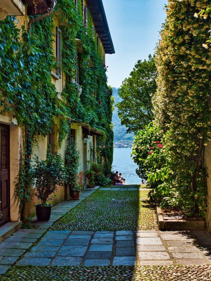 Переулок с домами стен покрытых лозами с orta озера на заднем плане и людьми купая стоковое фото rf