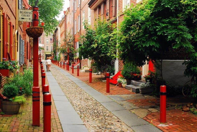 Переулок Elfreth в Филадельфии стоковые фотографии rf