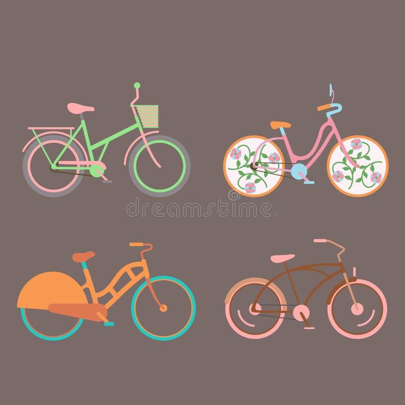 Перехода велосипеда стиля велосипедов вектора иллюстрация транспорта цикла лета корабля езды винтажного старого ретро иллюстрация штока