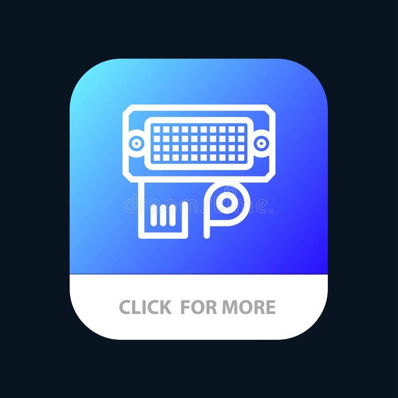 Переходник, соединение, данные, кнопка приложения входного сигнала мобильная Андроид и линия версия IOS иллюстрация вектора
