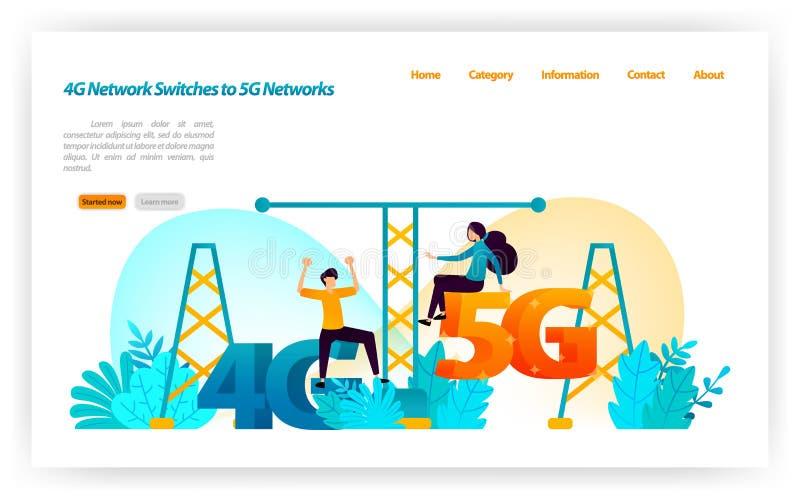 Переход и замена сети 4G LTE к самой последней сети 5G переключает интернет и беспроводные устройства illustra вектора иллюстрация штока