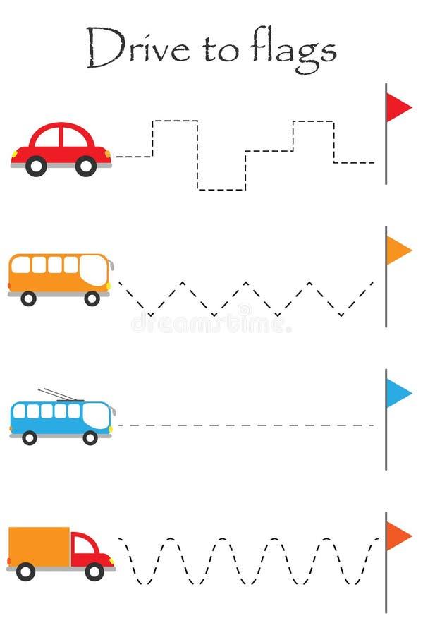 Переход к флагам, лист привода практики почерка, деятельность при детей preschool, воспитательная игра детей, printable рабочее л иллюстрация штока