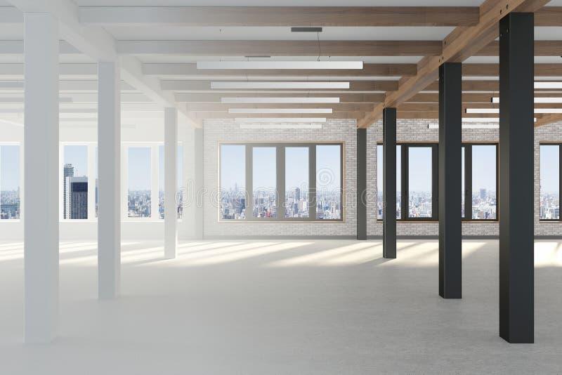 Переход от белизны для того чтобы покрасить вставку проекта Огромная пустая комната с большими окнами обозревая metropolisб иллюстрация вектора