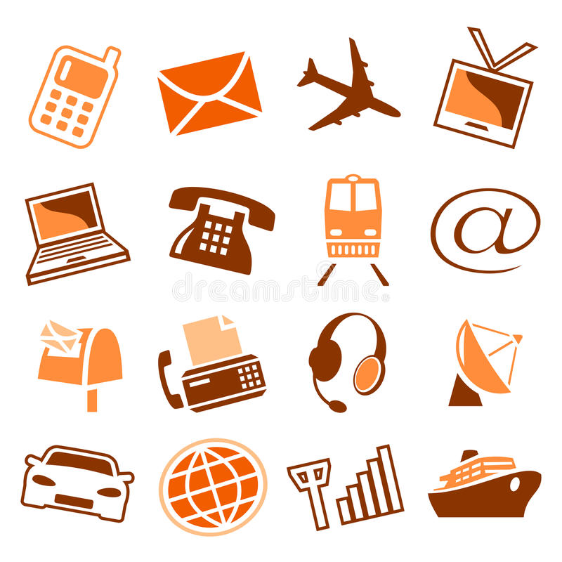 переход телекоммуникаций икон иллюстрация вектора