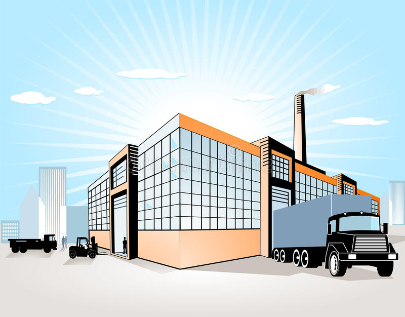 переход фабрики иллюстрация штока