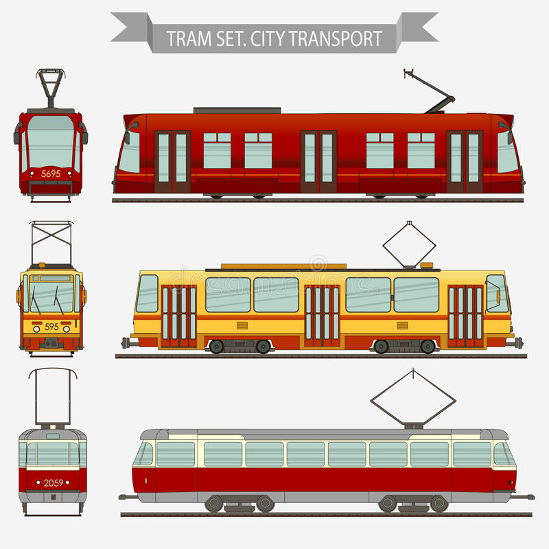 Переход города вектора трамвая иллюстрация вектора