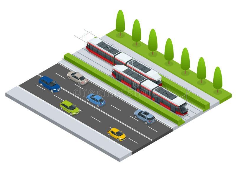 Переход города значка вектора равновеликий или трамвайная остановка infographic трамвайной линии элемента причаливая на улице с а иллюстрация вектора