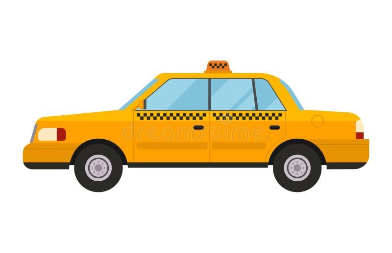 Переход иллюстрации вектора стиля автомобиля такси желтый изолировал автомобиль пассажира символа значка движения обслуживания го иллюстрация вектора