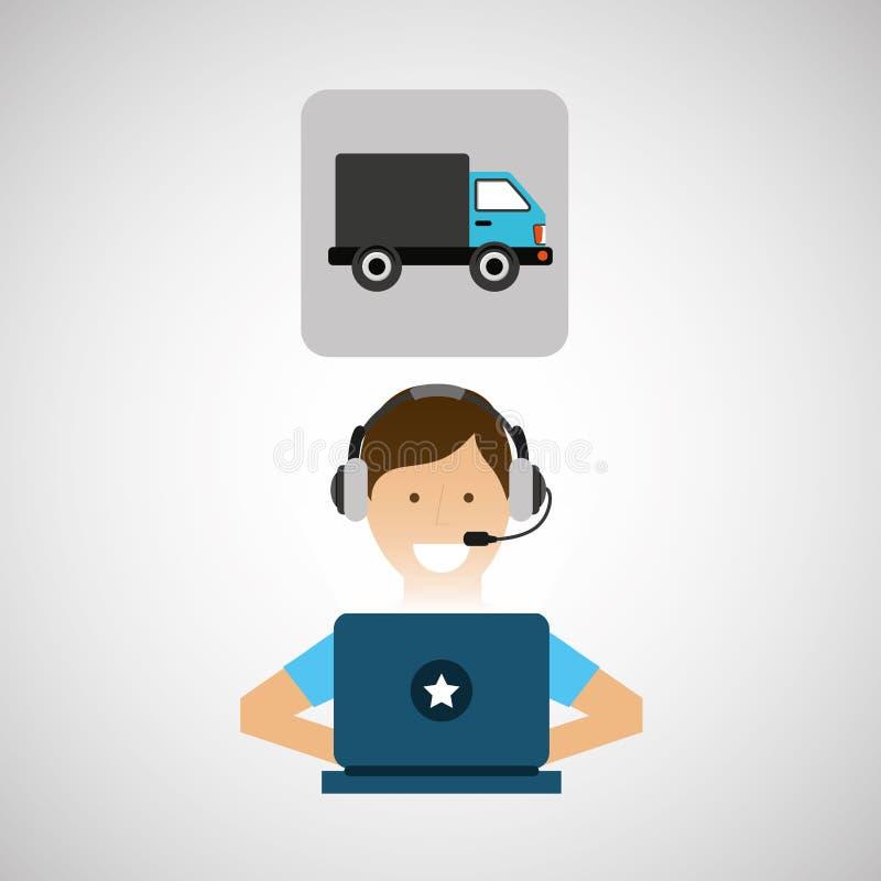 Переход центра телефонного обслуживания концепции обслуживания поставки бесплатная иллюстрация