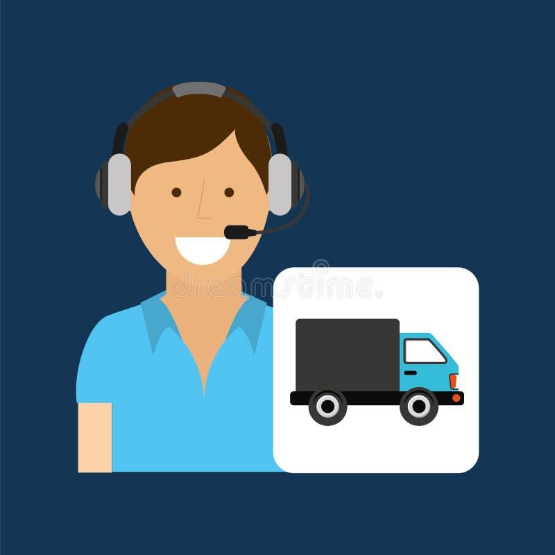Переход центра телефонного обслуживания концепции обслуживания поставки иллюстрация штока