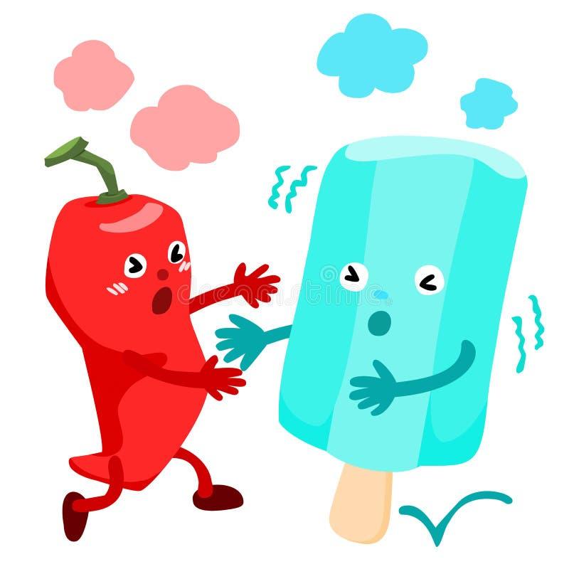Перец горячего chili бежит к холодному вектору мороженого бесплатная иллюстрация