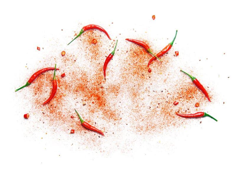 Перец и порошок красного chili стоковые фото