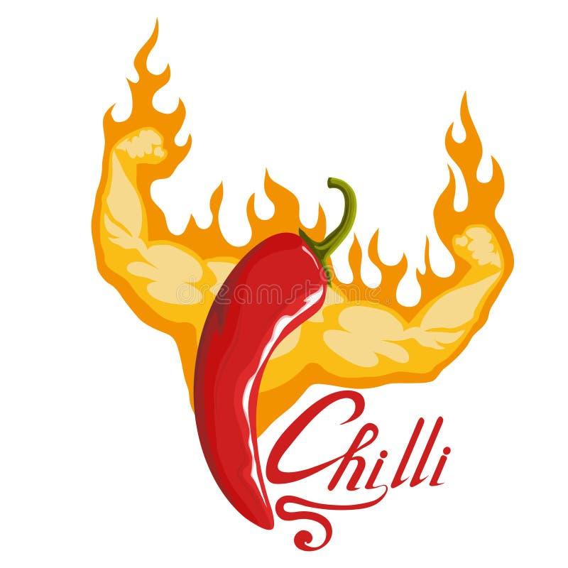 Перец нарисованный рукой накаленный докрасна пряный ингридиент Логотип Chili Spice перец горячего Chili изолированный на белой пр иллюстрация штока